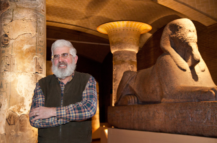 Photo of Patrick McGovern in Egypt with the sphinx.