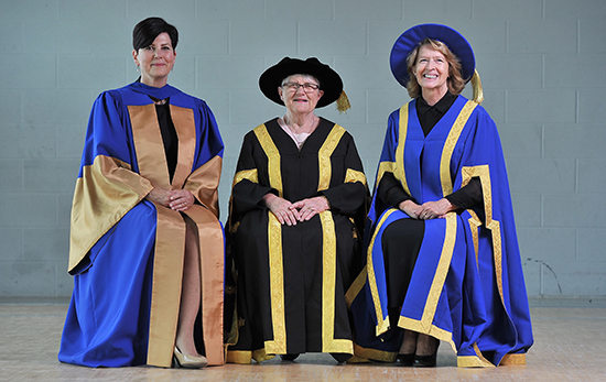 Honorary degree recipient Deborah Martin-Downs is pictured with Chancellor Lyn McLeod and Interim President and Vice-Chancellor Dr. Moira McPherson