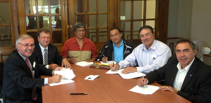 Lakehead University officials have signed a protocol agreement with Nishnawbe Aski Nation, the Union of Ontario Indians, Grand Council Treaty #3, and Métis Nation of Ontario to establish a strong, meaningful and respectful working relationship regarding the Faculty of Law.