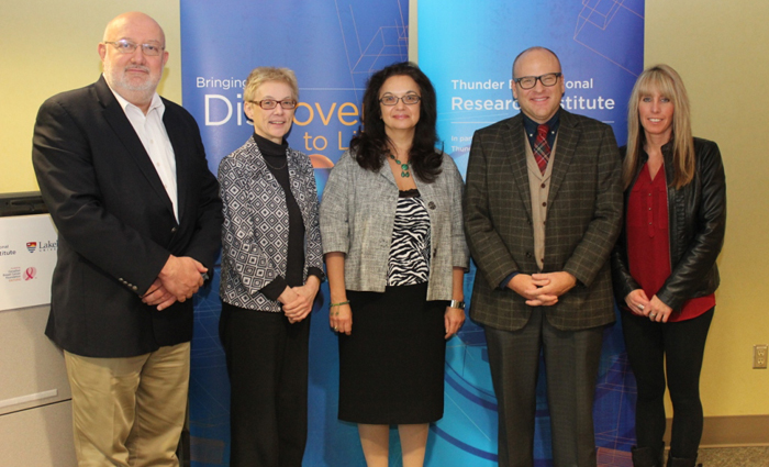 Dr. Alla Reznik with TBRRI, Hospital and Lakehead University representatives
