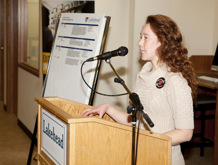 Third-year Kinesiology student Alexis Sharp talked about the benefits of the Co-Curricular during the Lakehead Thunder Bay launch of the CCR.