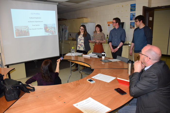 Fourth-year students Meredith Davy, Alischa Bower, Jake O'Flaherty, and Karter Sutch presented to Paul Pepe, Manager of Tourism, City of Thunder Bay, on Tuesday.
