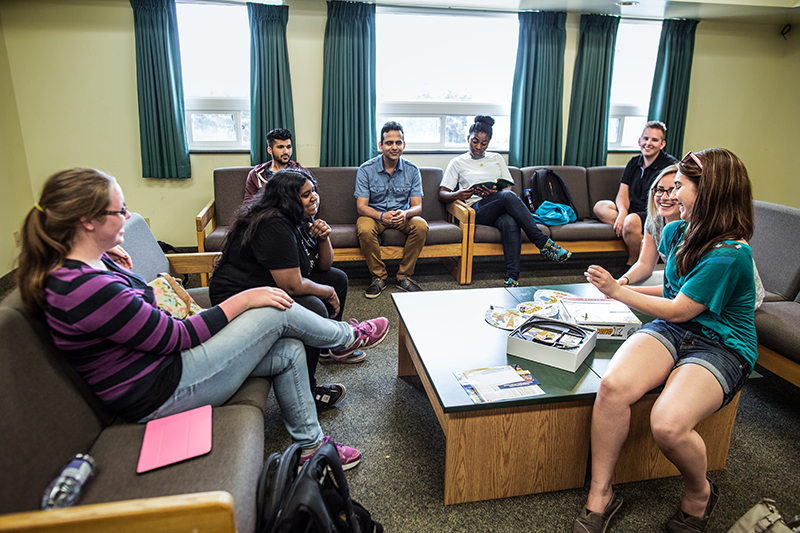 Students in residence common room
