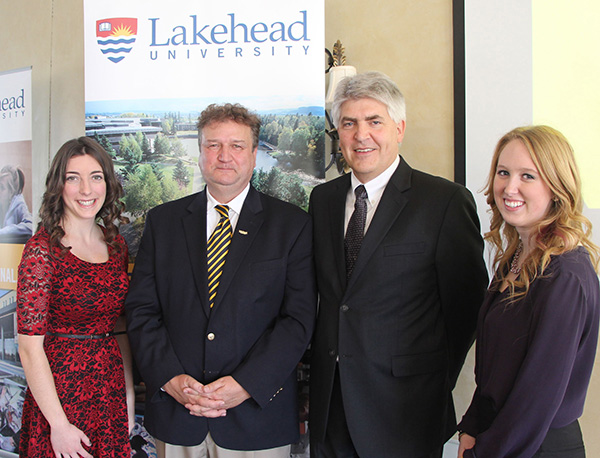 Lakehead University released its 2012-2013 Annual Report at a luncheon on November 13 at Hawk Ridge Golf and Country Club. Shown above (l to r) are Lakehead student Christina Petsinis, who was recognized as a Presidential Scholarship winner; Lakehead University President and Vice-Chancellor Dr. Brian Stevenson; Orillia Campus Acting Dean Dr. Herman van den Berg; and Lakehead student Sami Pritchard, who shared her Lakehead experience with guests.