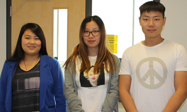 Lakehead students (l to r) Ruixia Liang, LinLin Feng, and Chenhan Chu of China are preparing to complete their Business degrees at the Orillia campus.