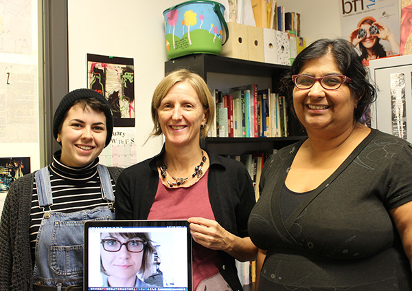 MARG members  (l to r): Lakehead Media Studies student Cassidy Croft; Lakehead Associate Professor of Interdisciplinary Studies/Media Studies Dr. Sandra Jeppesen; and Sharmeen Khan and Dr. Kamilla Petrick (shown via computer)