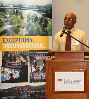Dr. Nanda Kanavillil, chair of Lakehead's new Research Centre for Sustainable Communities.