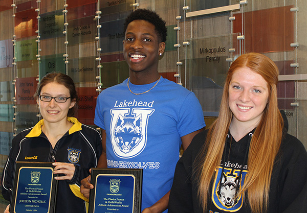 Three Lakehead Orillia athletes were the recent recipients of the Plastics Protect & Holliswealth Athletic Achievement Award: (l to r) Jocelyn Nicholls, dance; Akeem Are, basketball; and Kaitlyn Mulholland, women's soccer.