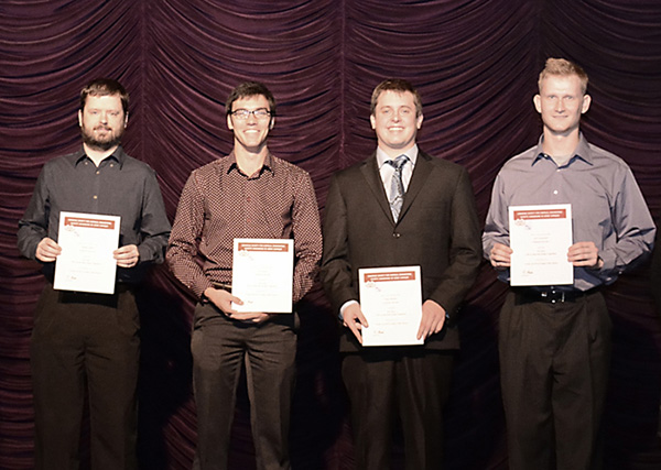 From left to right are Matthew Smith, Travis Roske, Nathan Blundon and Eric Czaczkowski, members of the Lakehead University team that came first in the SNC-Lavalin Undergraduate Plant Design Competition.