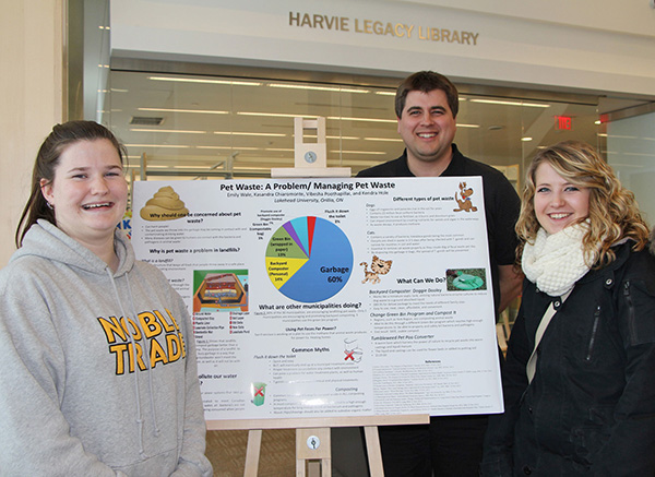 Student Undergraduate Research Day is an opportunity to discover the wide variety of research taking place at Lakehead Orillia. Shown at the 2013 Research & Innovation Week are (l to r): Kendra Hole and Emily Wale, with Greg Preston from the City of Orillia.