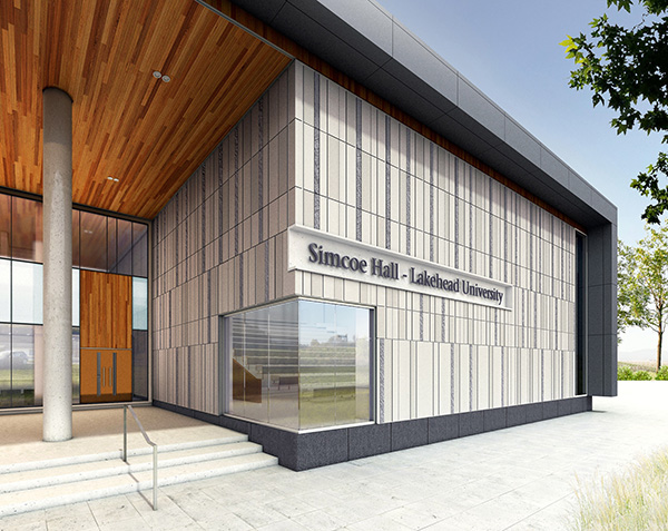 Artist's rendering depicting Lakehead Orillia's Academic Building as the University's new Simcoe Hall.