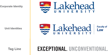 sample logos of: Coroporate Identity, Unit Identities, and the University Tag Line
