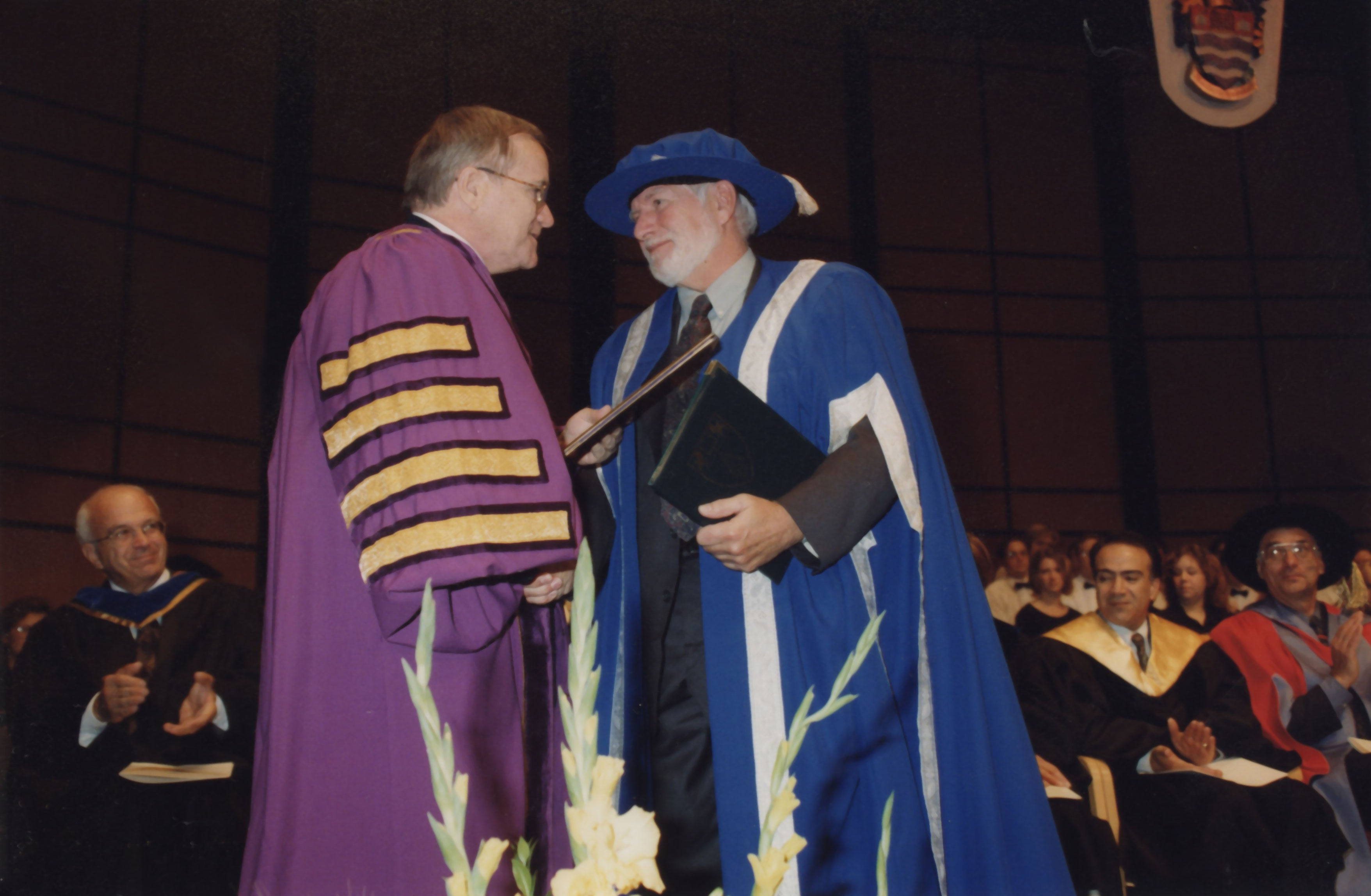 Dr. Fred Gilbert in ceremonial robes during 1998 installation ceremony as Lakehead University president