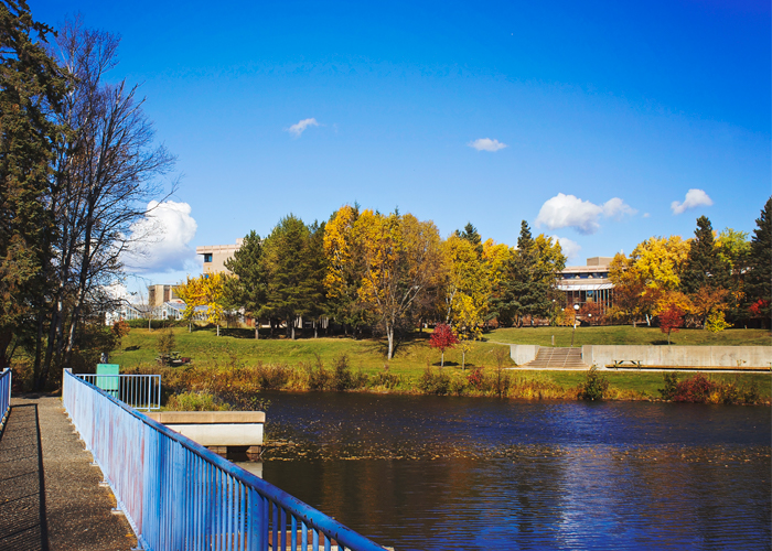A photo capturing the beautiful view of Lake Tamblyn on Thunder Bay Campus