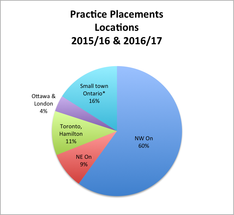Locations of placements pie chart