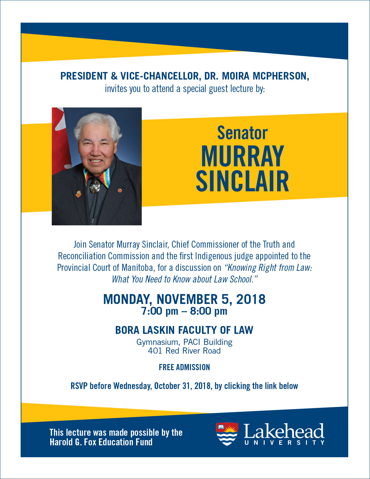 Poster for the upcoming lecture event featuring Murray Sinclair.