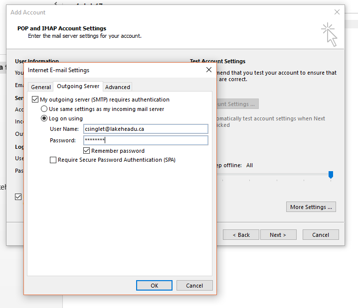 how to find you pop settings in outlook