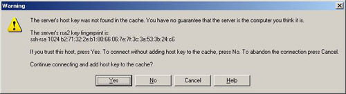 winscp configuration window error message, the host key was not found