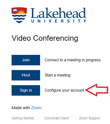 Screenshot of Zoom Lakehead login page