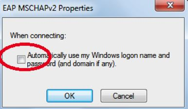 Uncheck automatically use my windows logon name and password