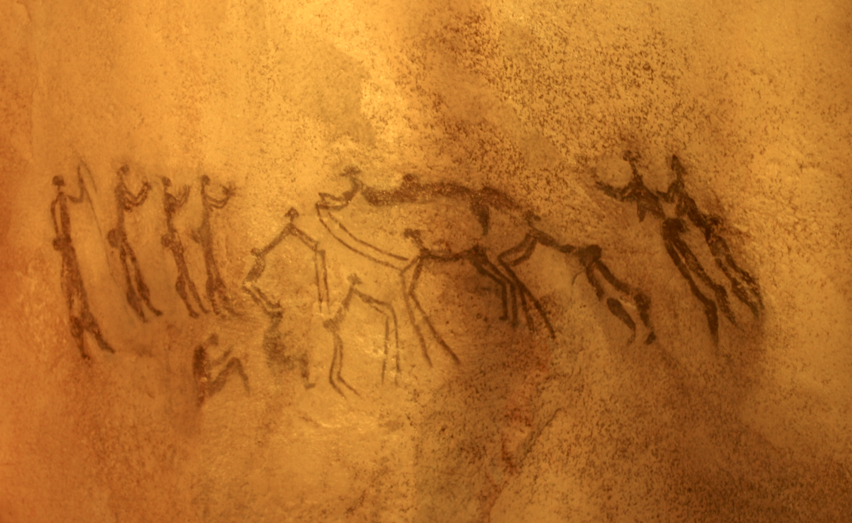 Ancient cave paintings on a wall