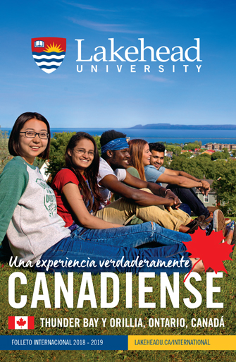 The 2017 Lakehead University International Viewbook cover. It features multiple international students enjoying the view sitting at Hillcrest Park in Thunder Bay