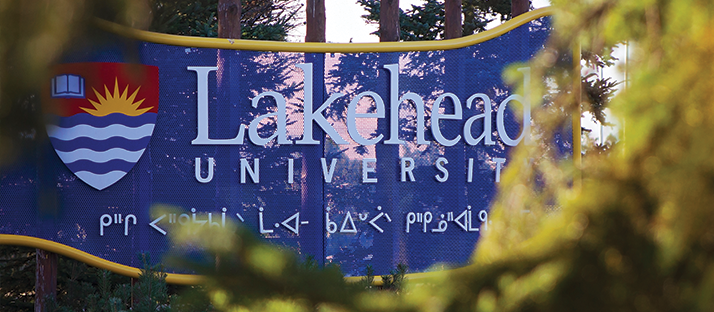 The Lakehead University sign at the main entrance