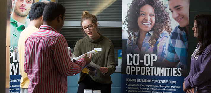 One of our Student Success Advisers educating students on co-op opportunities available at Lakehead