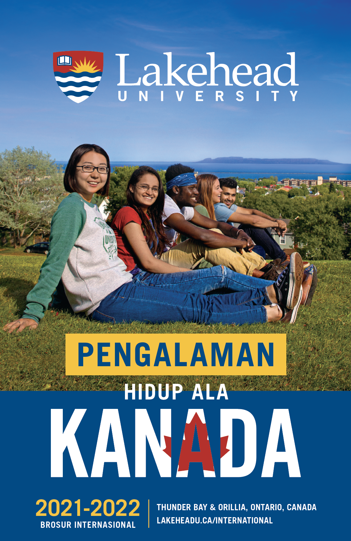 The cover of the 2021 Lakehead International Brochure in Indonesian.