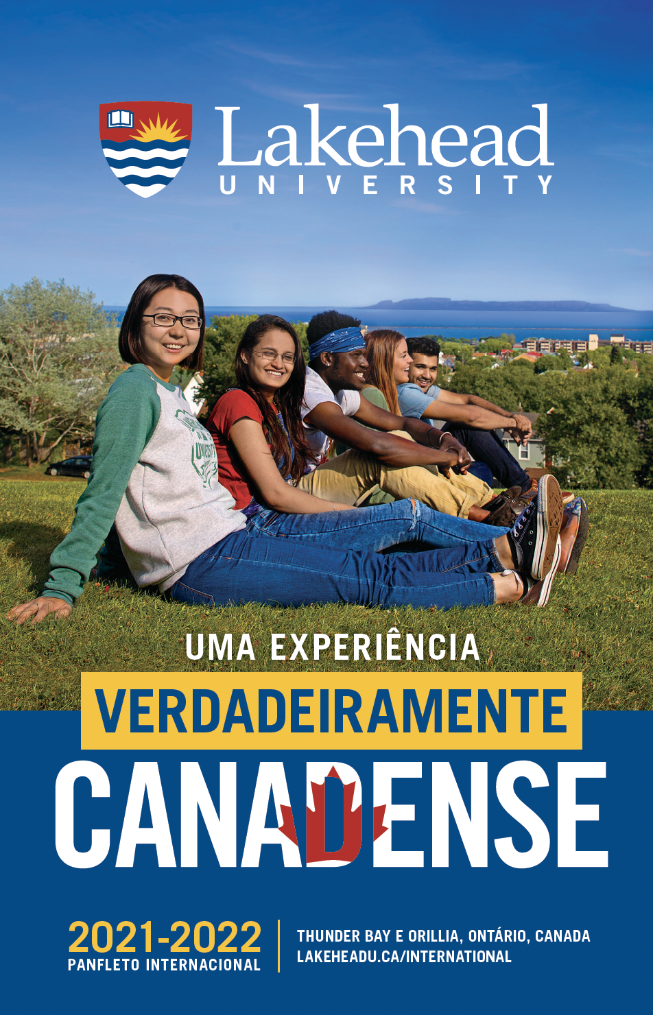 The cover of the 2021 Lakehead International Brochure in Portuguese.