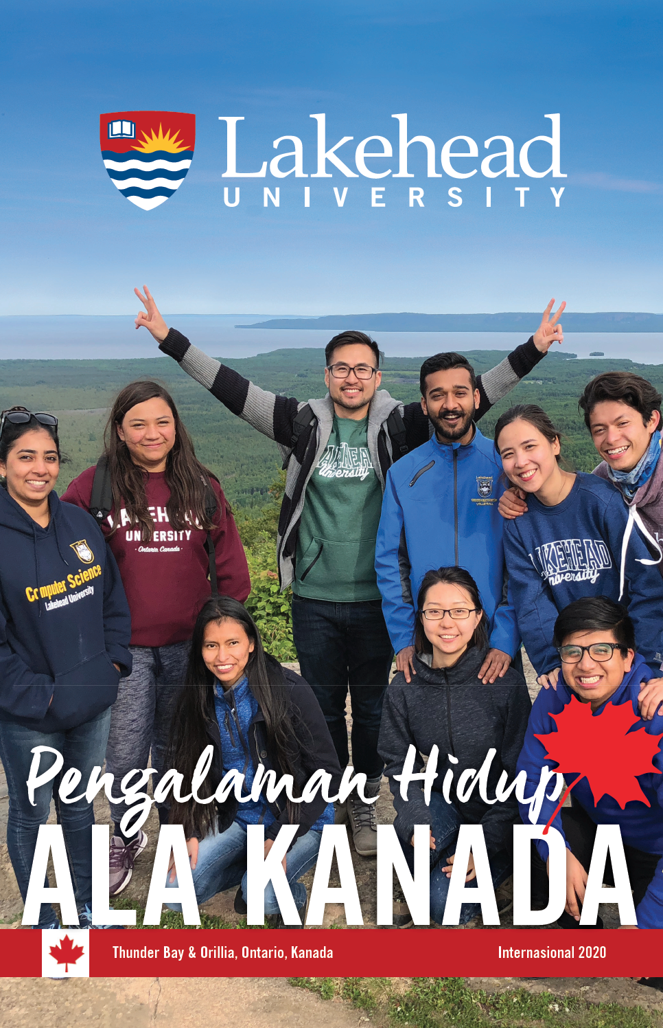 The cover of the 2019 Lakehead International Brochure in Indonesian.