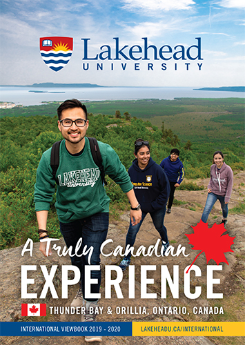 The cover of the 2017 Lakehead International Viewbook in English.