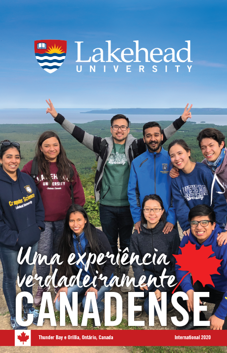 The cover of the 2019 Lakehead International Brochure in Portuguese.