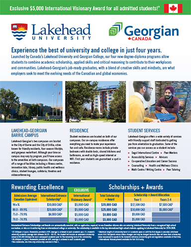 The cover of the 2019 Lakehead-Georgian International Flyer in English.