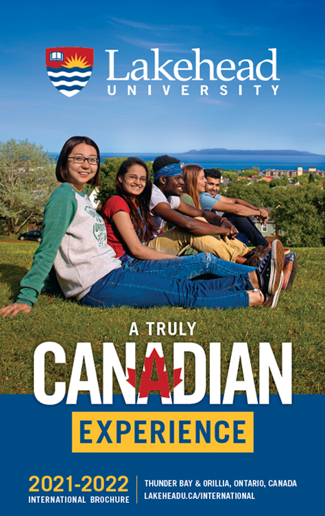 The cover of the 2021 Lakehead International Brochure in English.