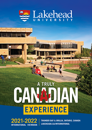 The cover of the 2021 Lakehead International Viewbook in English.