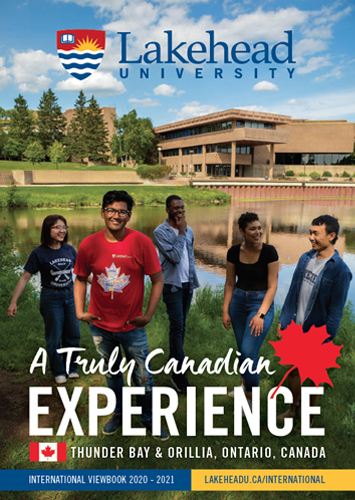 The cover of the 2020 Lakehead International Viewbook in English.