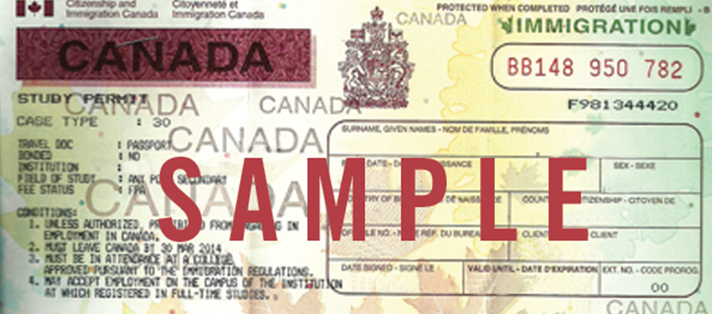 A sample of a Canadian Study permit