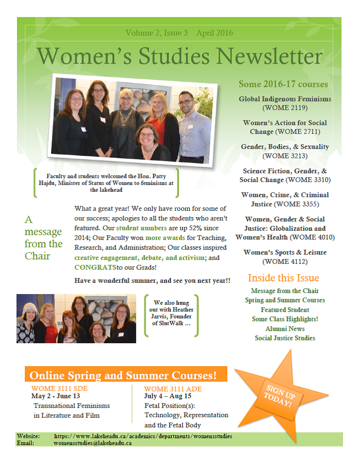 First page of newsletter showing 2 different images of women.