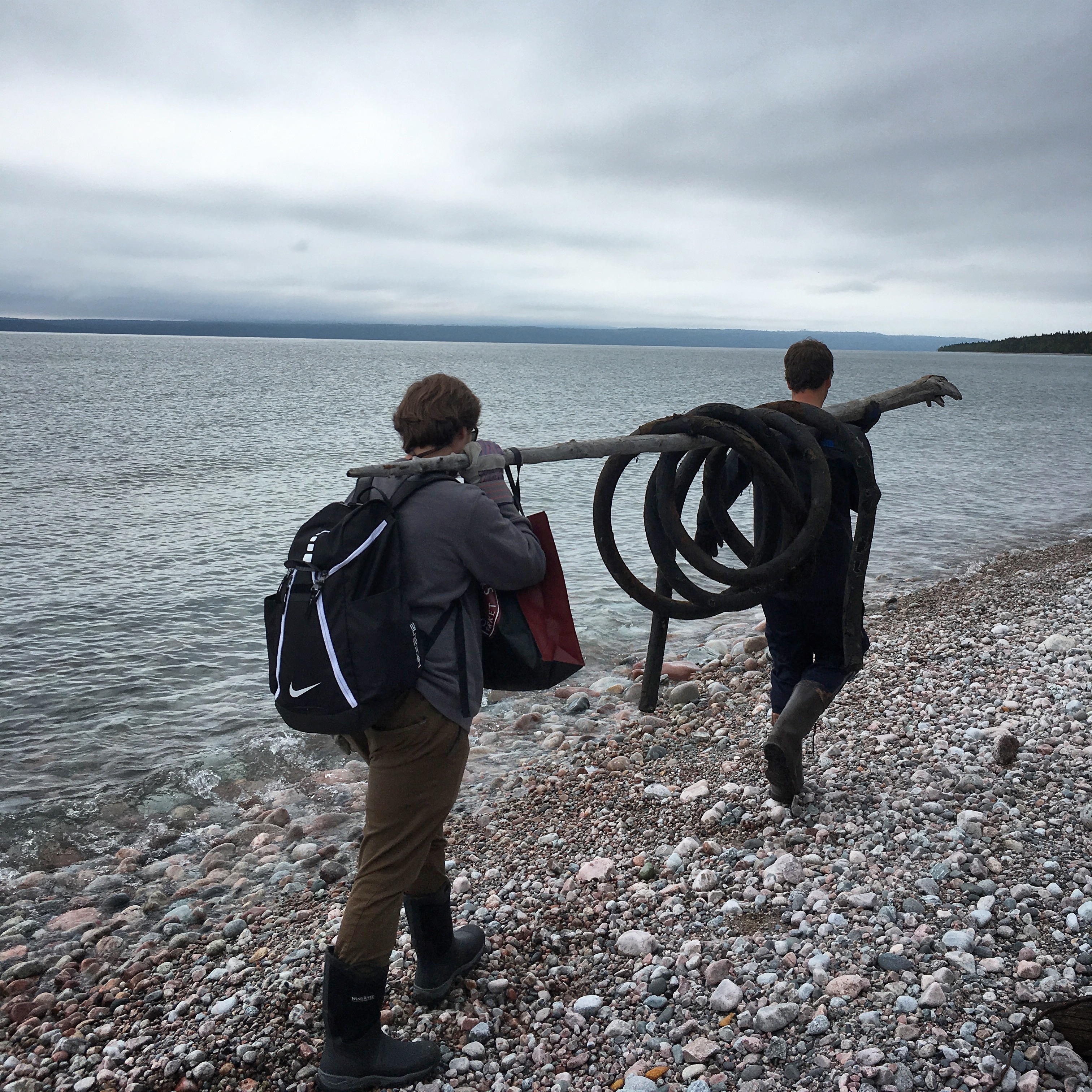 ORPT students haul garbage from Lake Superior shoreline