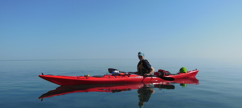 Student of the Outdoor Recreation, Parks & Tourism program, Stpehanie Potter enjoys a picturesque day on Lake Superior.