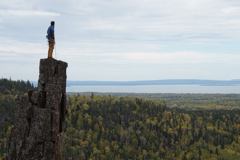 On top of Dorion Tower, where you can see Black Bay and Lake Superior.