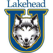 The Lakehead University Thunderwolves logo. This logo depicts a varsity U with a wolf's head coming through the center.